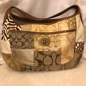 Coach Patchwork Gold Suede Leather Hobo Bag